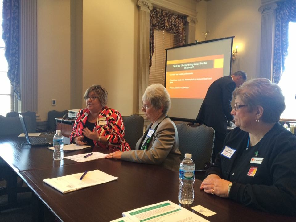 Dee McCutcheon presenting to legislators for DDHA at Advocacy Day.  Pictured Dee , Fay Rust and Nancy Brohawn.  Also present Libby Garey and Jaryn Bermudez. Thank you to Representative Paul Baumbach for this picture.